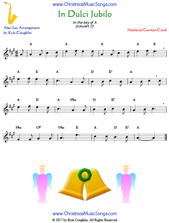 In Dulci Jubilo alto saxophone sheet music, arranged to play along with other wind, brass, and string instruments.