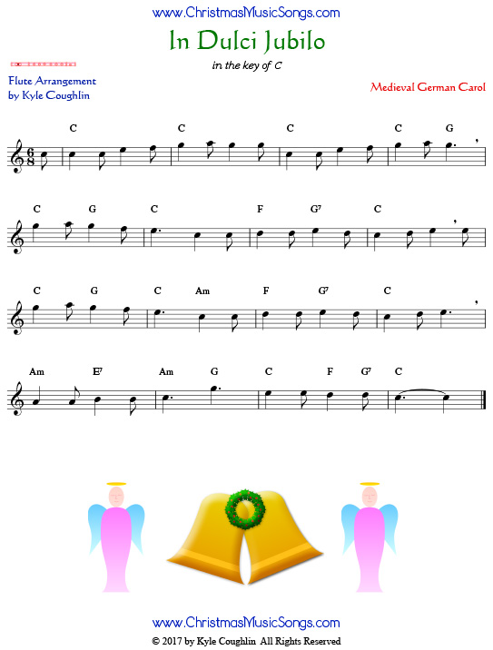 In Dulci Jubilo flute sheet music, arranged to play along with other wind, brass, and string instruments.