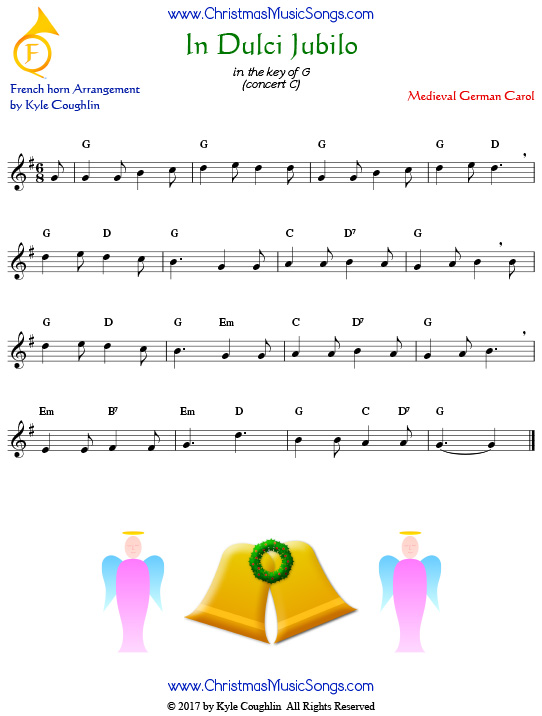 In Dulci Jubilo French horn sheet music, arranged to play along with other wind, brass, and string instruments.
