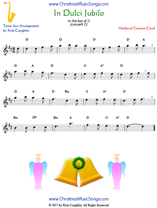 In Dulci Jubilo tenor saxophone sheet music, arranged to play along with other wind, brass, and string instruments.