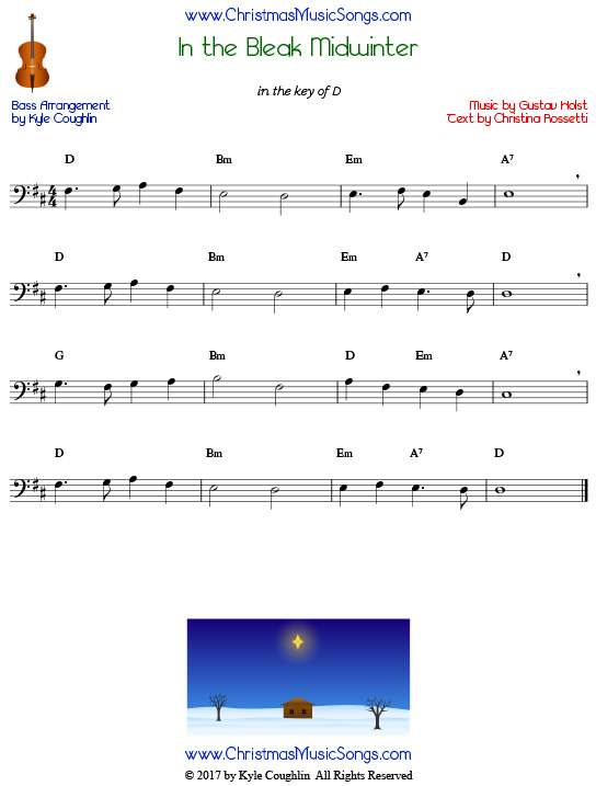In the Bleak Midwinter for bass, arranged to play along with strings, woodwinds, and brass.