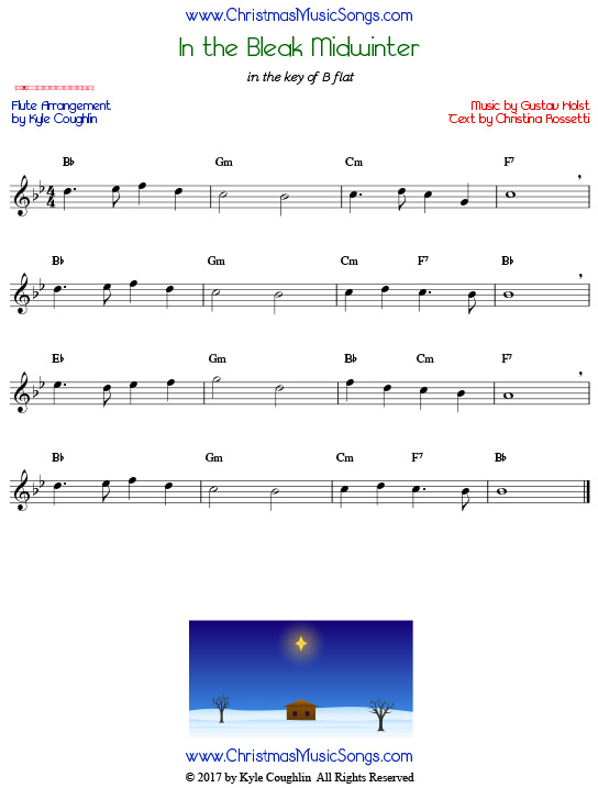 In the Bleak Midwinter flute sheet music, arranged to play along with other wind and brass instruments.