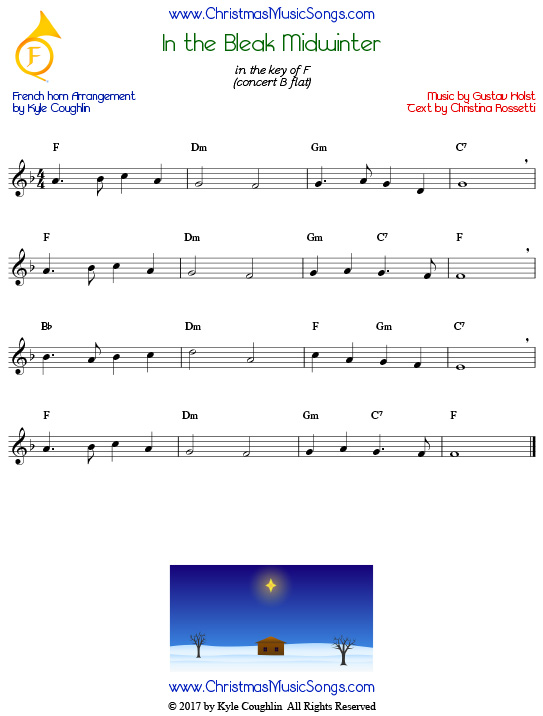 In the Bleak Midwinter French horn sheet music, arranged to play along with other wind and brass instruments.