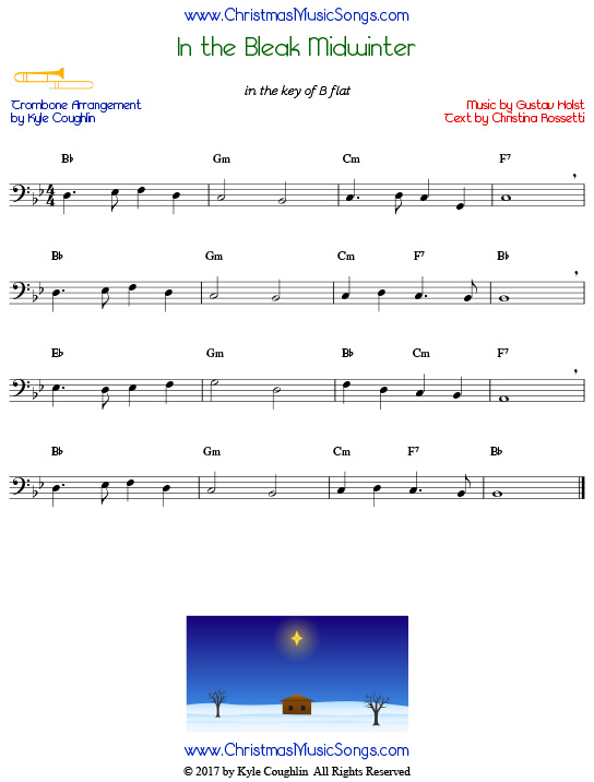 In the Bleak Midwinter trombone sheet music, arranged to play along with other wind and brass instruments.