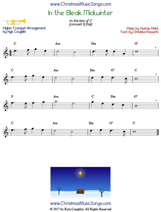 In the Bleak Midwinter trumpet sheet music in a higher range, arranged to play along with other wind and brass instruments.