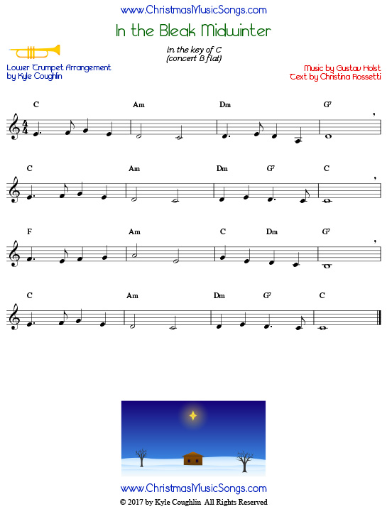 In the Bleak Midwinter trumpet sheet music in a lower range, arranged to play along with other wind and brass instruments.