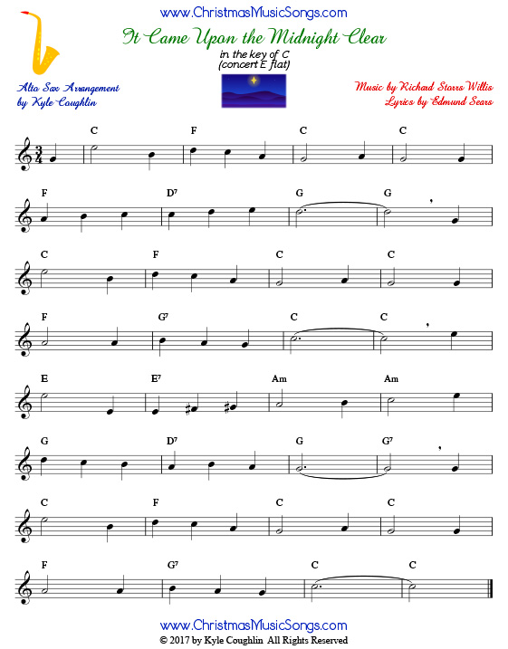 It Came Upon a Midnight Clear alto saxophone sheet music, arranged to play along with other wind and brass instruments.