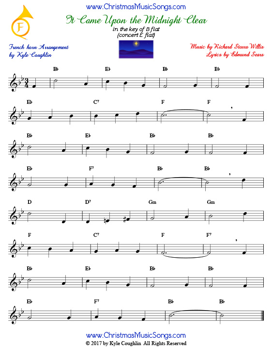 It Came Upon a Midnight Clear French horn sheet music, arranged to play along with other wind and brass instruments.