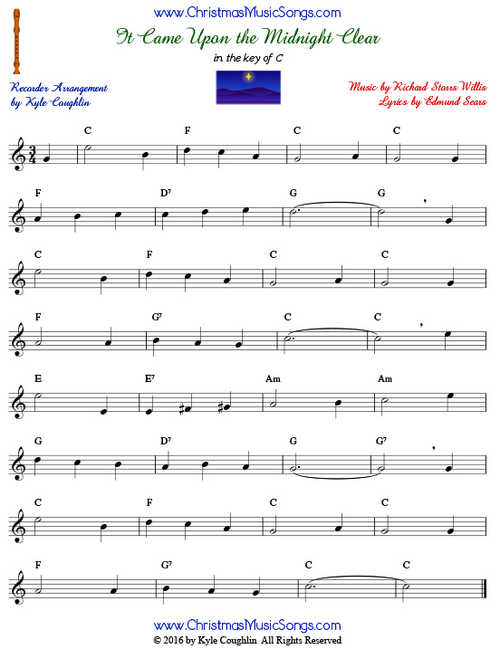 The Christmas carol It Came Upon a Midnight Clear for recorder in the key of C.
