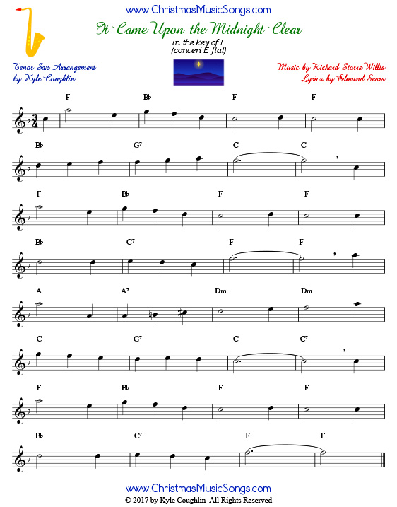 It Came Upon a Midnight Clear tenor saxophone sheet music, arranged to play along with other wind and brass instruments.