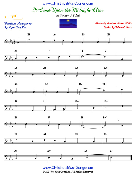 It Came Upon a Midnight Clear trombone sheet music, arranged to play along with other wind and brass instruments.