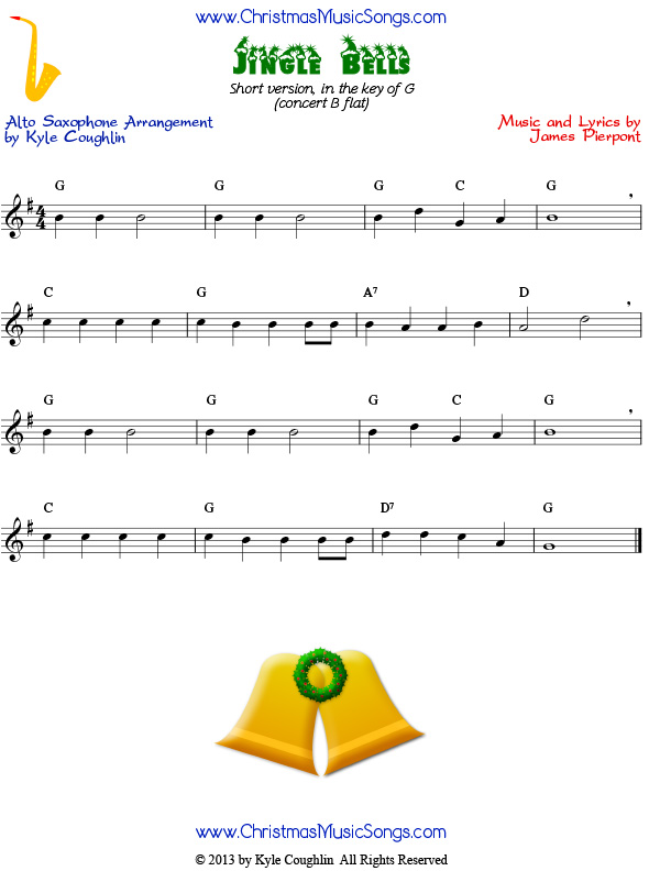 Jingle Bells Easy Version of Free Sheet Music for Alto Saxophone