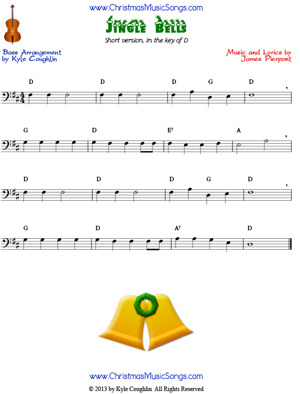 Jingle Bells for bass - easy version free sheet music