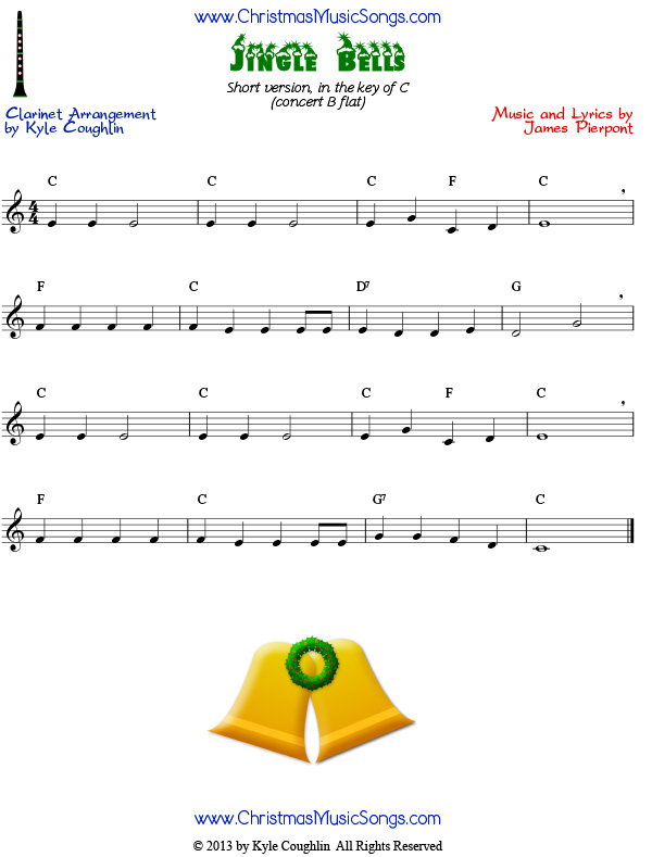 The jingle bells page for the full version of the carol for clarinet
