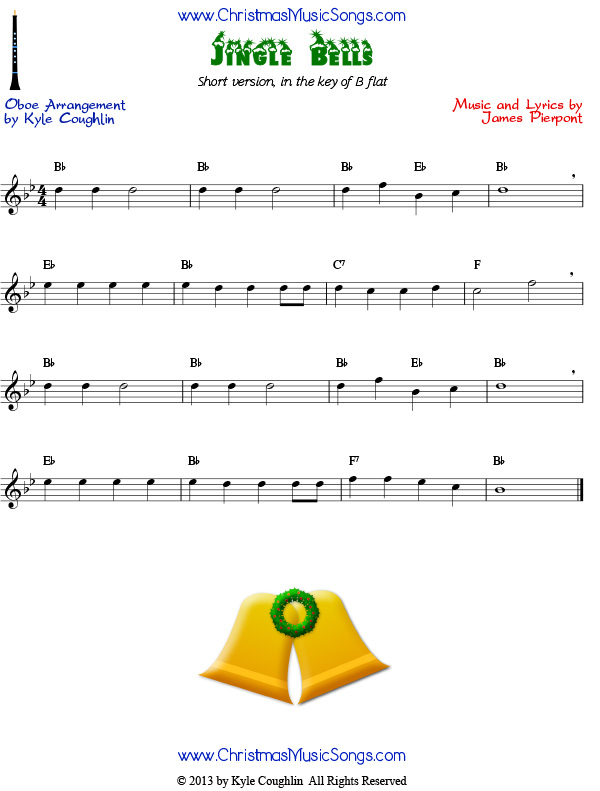 jingle bells for oboe easy version free sheet music. Black Bedroom Furniture Sets. Home Design Ideas