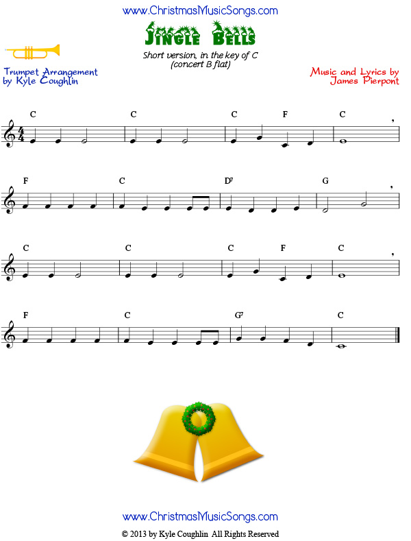 Jingle Bells For Trumpet Easy Version Free Sheet Music