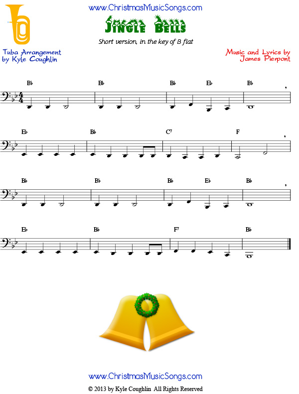 Jingle Bells for tuba - easy version free sheet music
