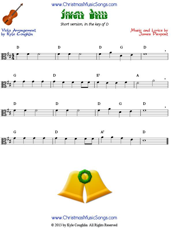 Jingle Bells for viola - easy version free sheet music