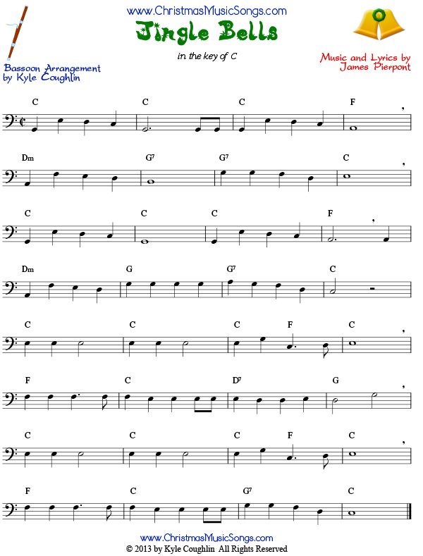 Jingle Bells sheet music for bassoon