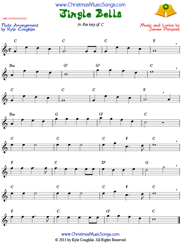 Jingle Bells sheet music for flute