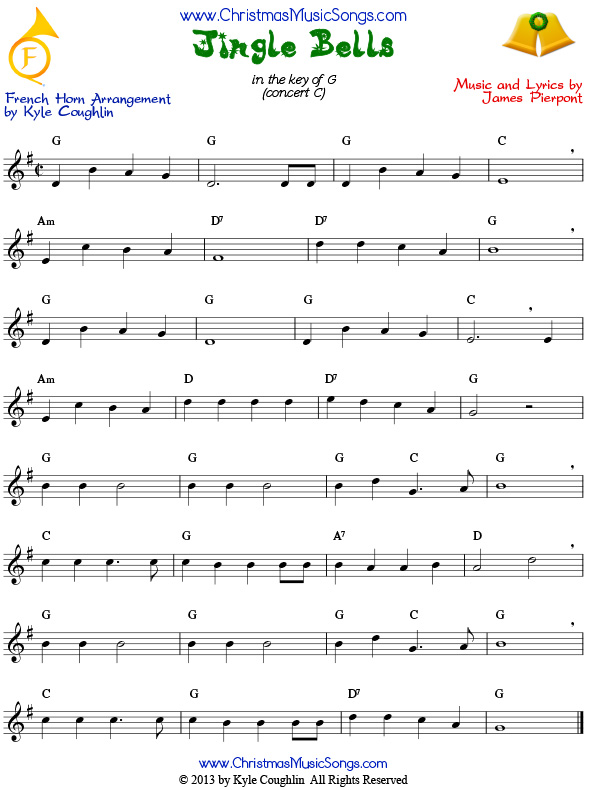 Jingle Bells for French horn sheet music