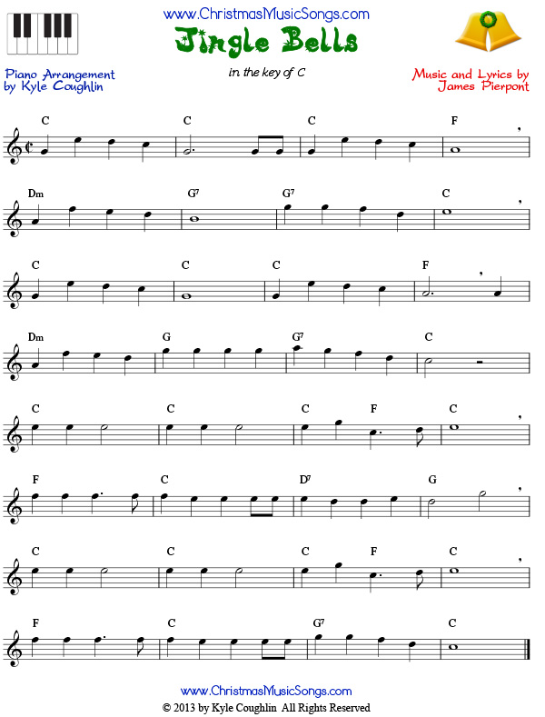 Jingle Bells for piano - free sheet music