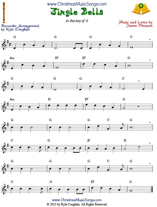Jingle Bells for recorder sheet music