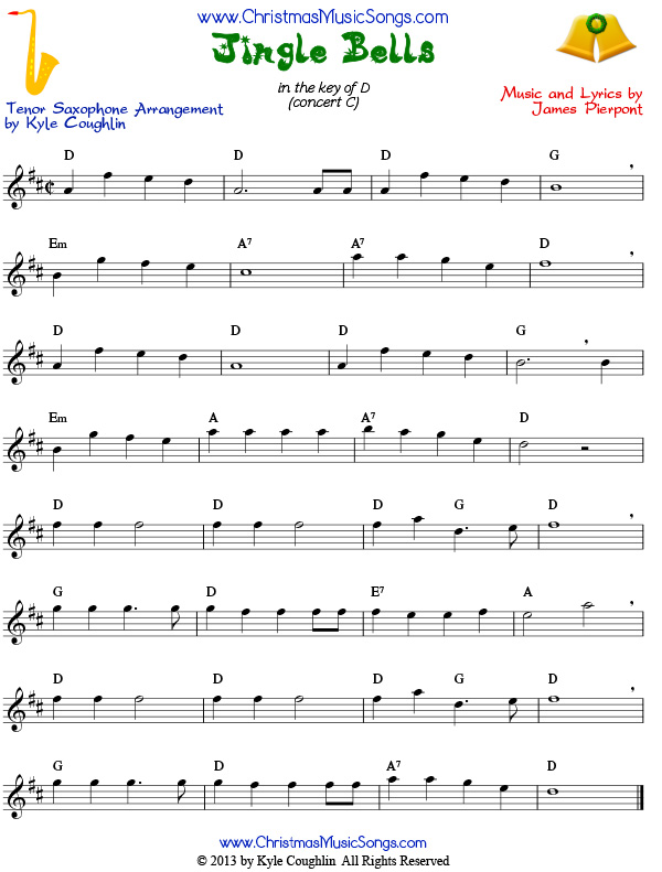 Jingle bells for tenor saxophone free sheet music
