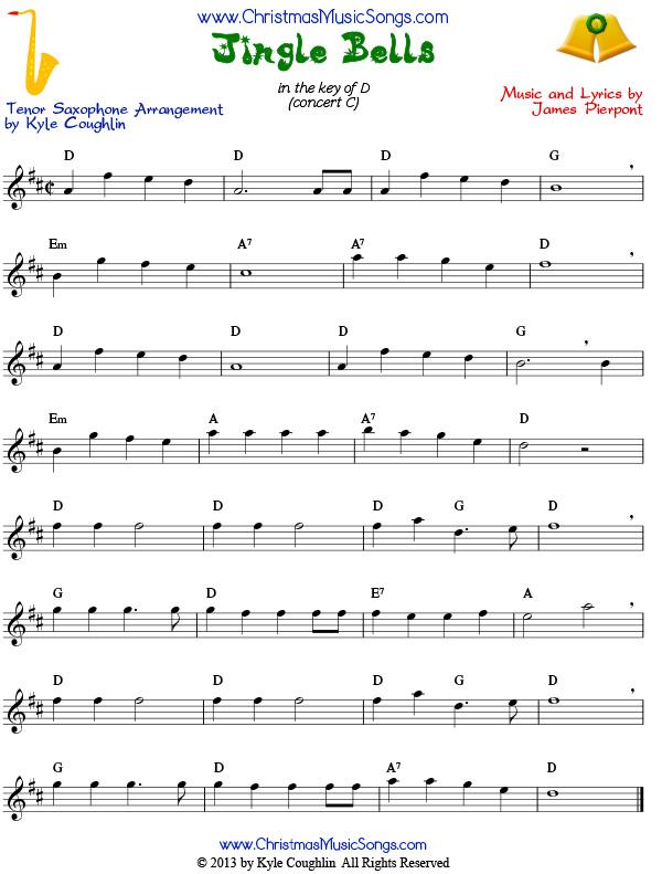 Jingle Bells for tenor saxophone - free sheet music