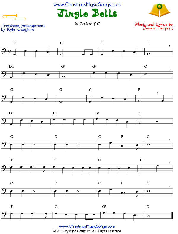 Jingle Bells sheet music for trombone
