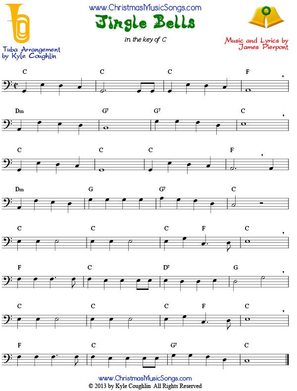 Jingle Bells for tuba - free sheet music