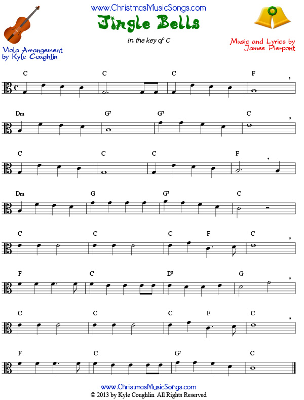 photo regarding Jingle Bells Lyrics Printable identified as Jingle Bells for viola - free of charge sheet audio
