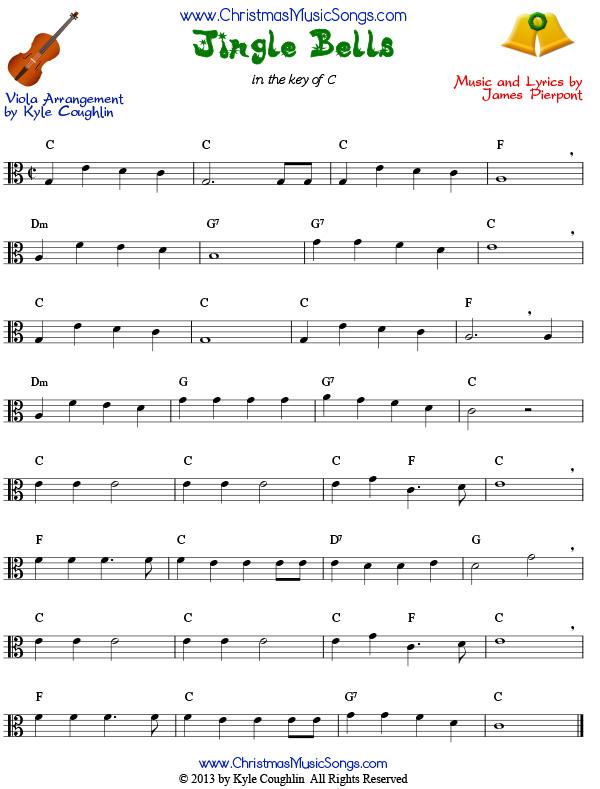 Jingle Bells For Viola Free Sheet Music