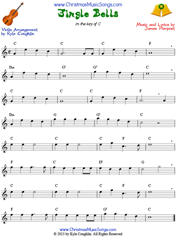 Jingle Bells sheet music for violin