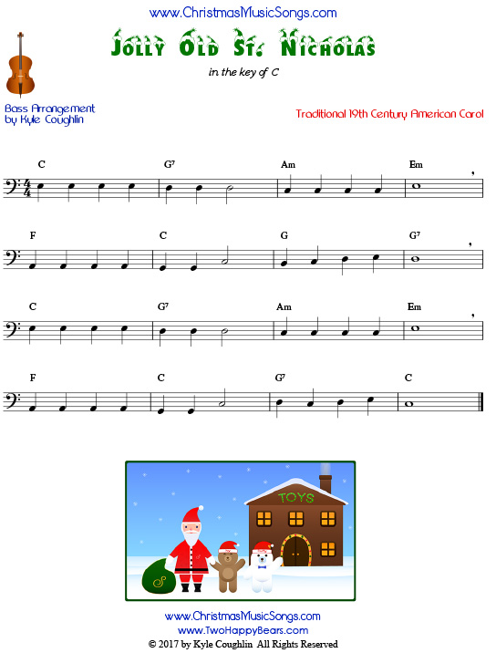 Jolly Old St. Nicholas for bass, arranged to play along with strings, woodwinds, and brass.