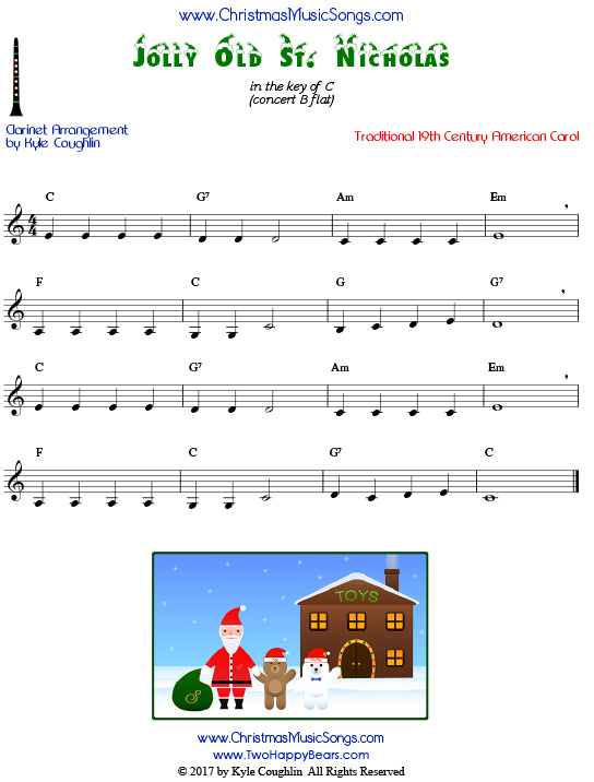 Jolly Old St. Nicholas clarinet sheet music, arranged to play along with other wind, brass, and string instruments.