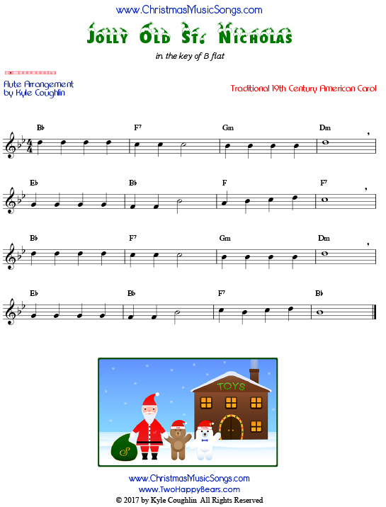Jolly Old St. Nicholas flute sheet music, arranged to play along with other wind, brass, and string instruments.