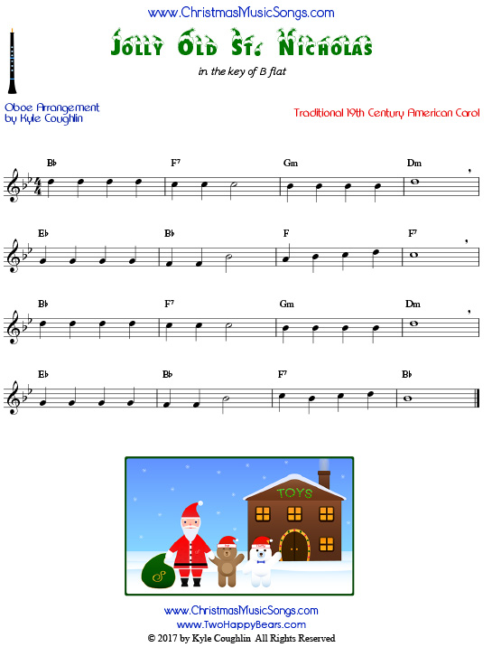 Jolly Old St. Nicholas oboe sheet music, arranged to play along with other wind, brass, and string instruments.