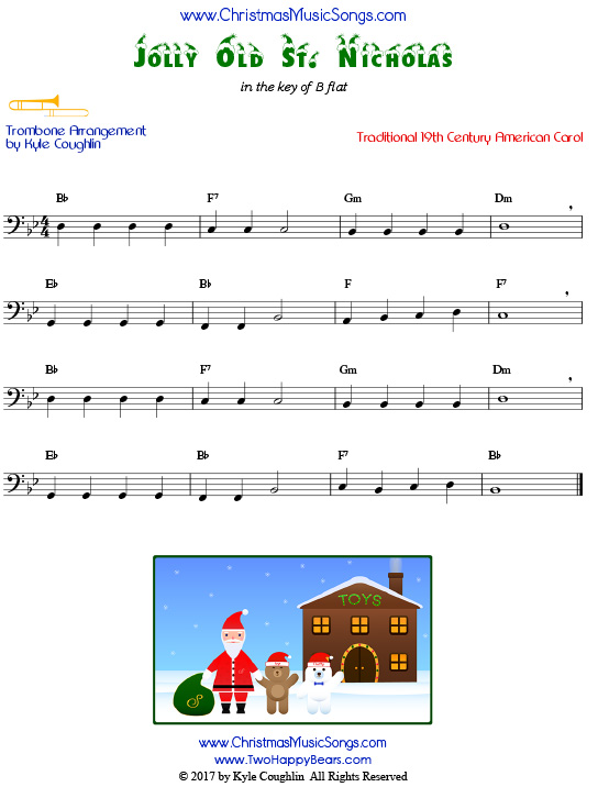 Jolly Old St. Nicholas trombone sheet music, arranged to play along with other wind, brass, and string instruments.