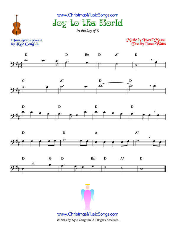 The Christmas carol Joy to the World, arranged for bass to be played along with other string instruments.