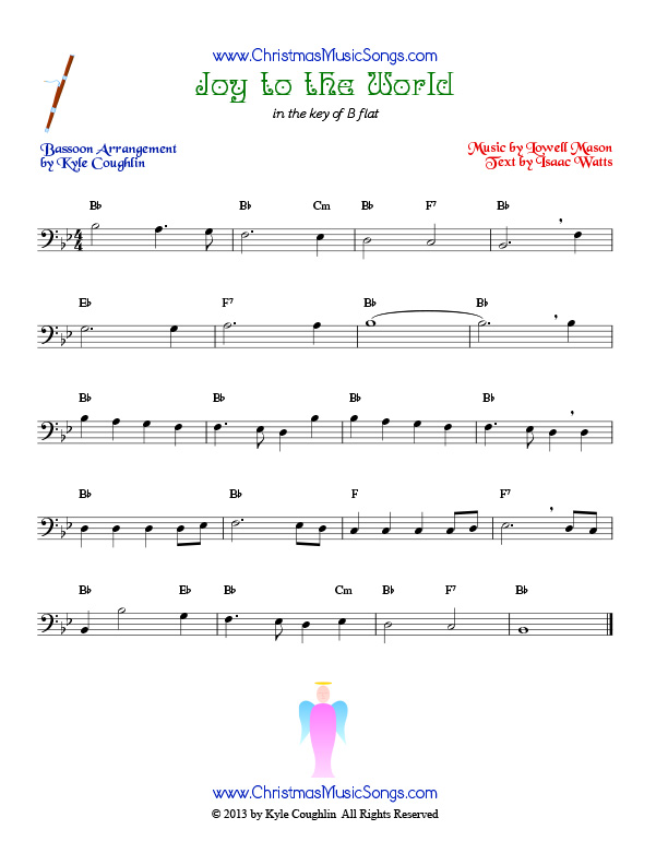 The Christmas carol Joy to the World, arranged for bassoon to play along with other wind and brass instruments.