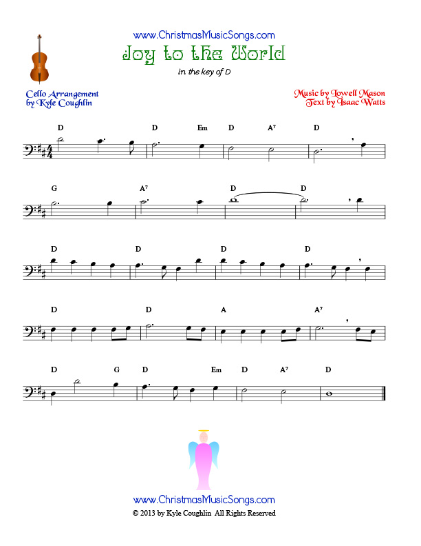 The Christmas carol Joy to the World, arranged for cello to be played along with other string instruments.
