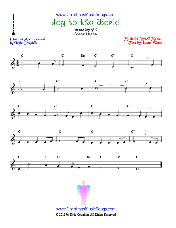 All Music Chords music sheet online free : Joy to the World for clarinet - free sheet music