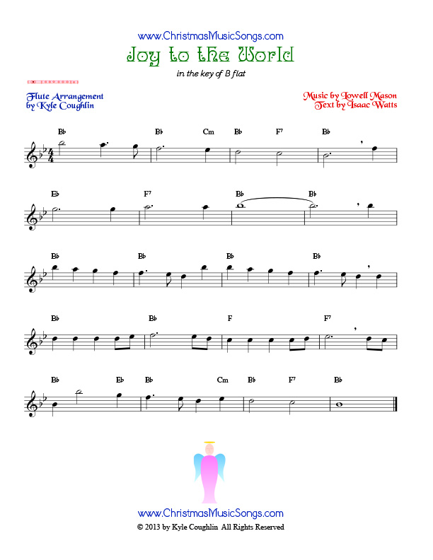 The Christmas carol Joy to the World, arranged for flute to play along with other wind and brass instruments.