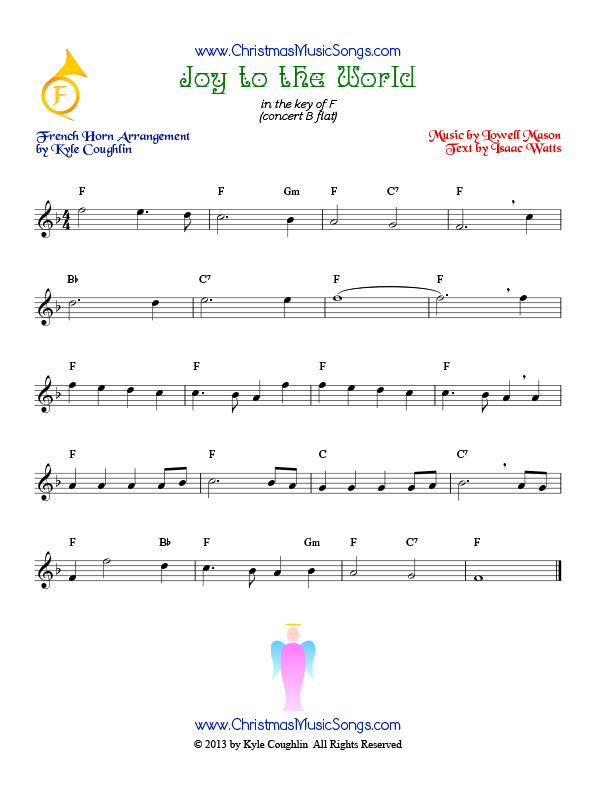 All Music Chords free french horn sheet music : Joy to the World for French horn - free sheet music
