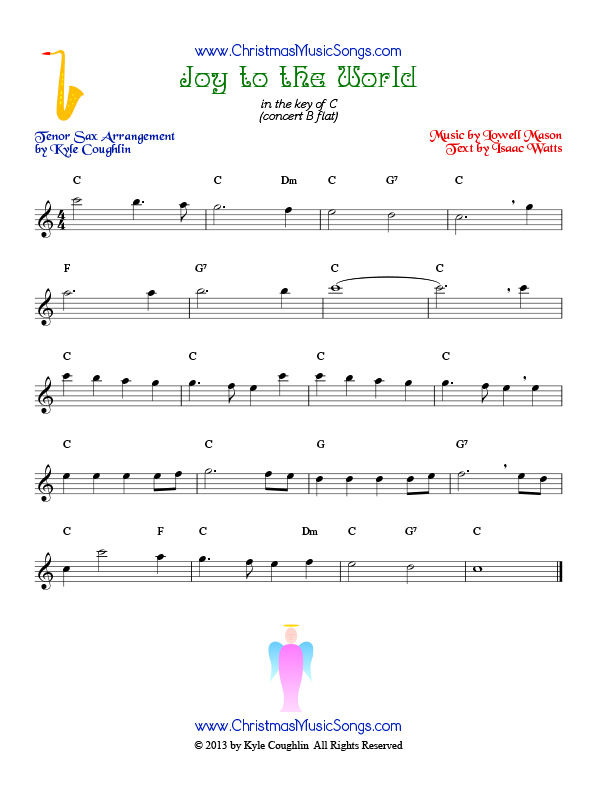 The Christmas carol Joy to the World, arranged for tenor saxophone to play along with other wind and brass instruments.