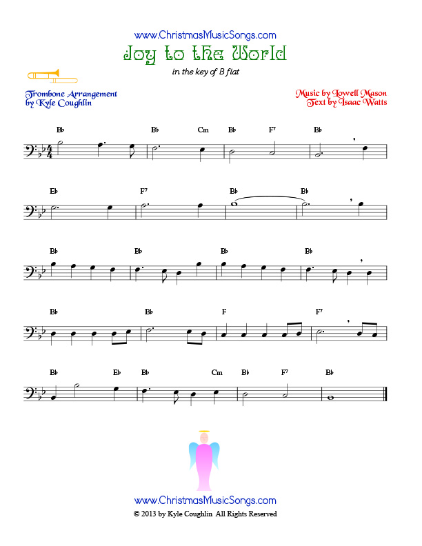 The Christmas carol Joy to the World, arranged for trombone to play along with other wind and brass instruments.