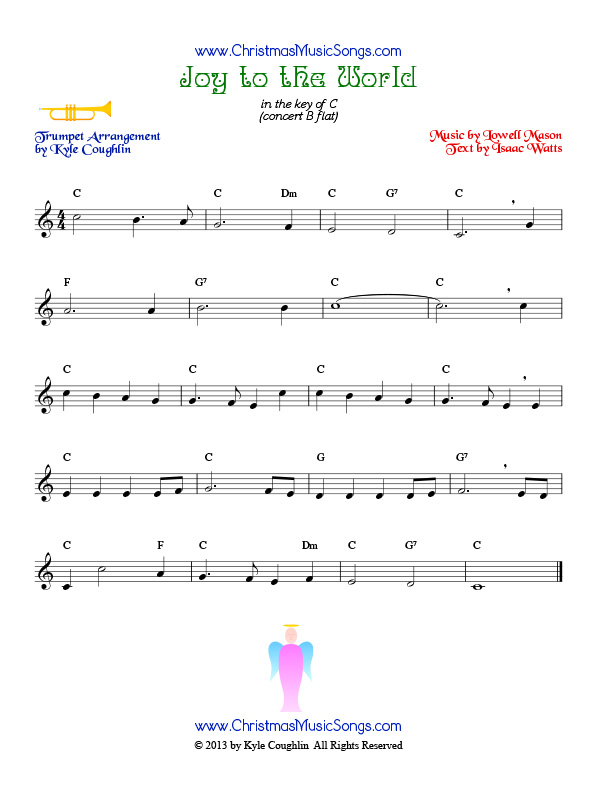 Joy to the World for trumpet - free sheet music