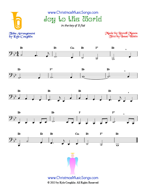The Christmas carol Joy to the World, arranged for tuba to play along with other wind and brass instruments.