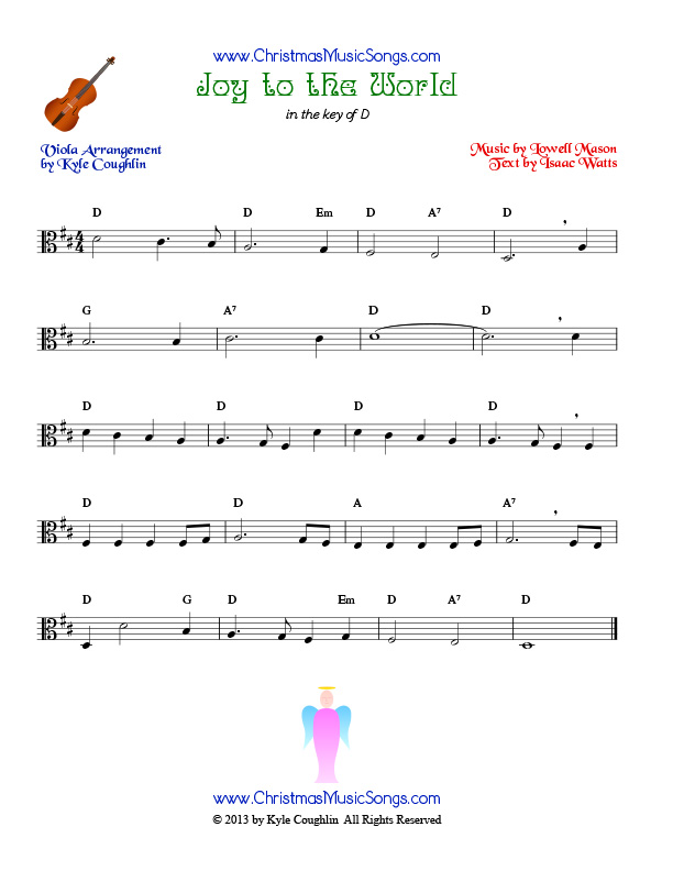 The Christmas carol Joy to the World, arranged for viola to be played along with other string instruments.